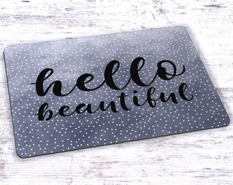 Hello Beautiful Watercolor Mousepad - 7.75 x 9.25
