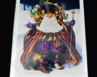 """Holiday Riches By Lynn Bywaters, Santa Claus At His Best, 11"""" x 9"""" Print marked ABO 342, 1995"""