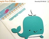 On SALE: Whale Shaped Card - Blue, Pink, Turquoise or Gray Whale - Whale Card - Kids Cards - Ocean Babies