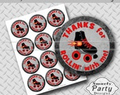 """Boy Roller Skate Thank You Party Tags Stickers Printable Customized 2.5"""" Circles PDF - Instant Download"""