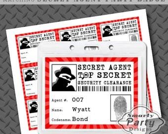 Secret Agent Spy Detective Party Badge Printable PDF - Instant Download