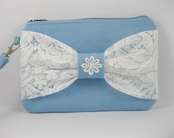 SUPER SALE - Light Blue with White Lace Bow Clutch - Bridal Clutches, Bridesmaid Clutch, Bridesmaid Wristlet,Wedding Gift - Made To Order