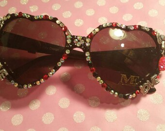 Heart sunglasses, blinged sunglasses, deco sunglasses, love theme, kitsch sunglasses, sunglasses