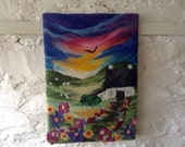 Felt art picture, felt painting, textile art