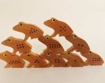 Wood frog toy numbers learning counting math toy balancing game child's frog school game