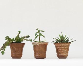 3 Vintage Studio Pottery Planters - Vintage Pottery Planters - Small Pottery Planters - Instant Collection Pottery Planters - Boho  Decor