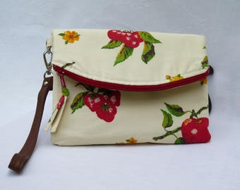 Wristlet Clutch Ivory and Red Strawberries and Apples and Peaches
