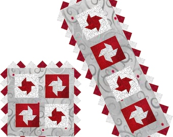 3-D Christmas Pinwheels & Prairie Points Table Runner Laser Cut Kit