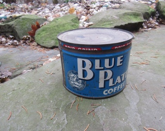 blue plate 1 pound coffee tin