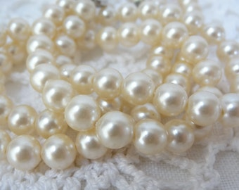 Vintage choker necklace pearl double strand Antique wedding Jewelry