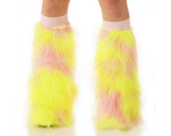 Furry Leg Warmers Neon Yellow and Baby Pink Fuzzy Boot Covers - Rave Fluffies - TrYptiX Camo Long Pile Faux Fur Boot Covers -