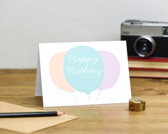 Happy Birthday Balloon card in pastel colours