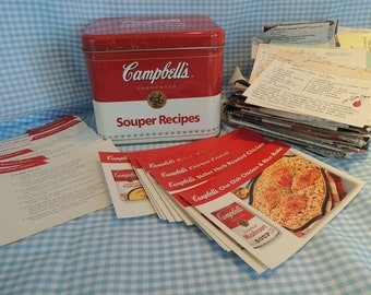 Campbell's Recipe tin with Campbell recipe cards, dividers, and family hand-written recipes, Advertising tin, Vintage