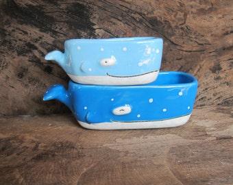 Little whale ceramic Plant Pots, Set of two