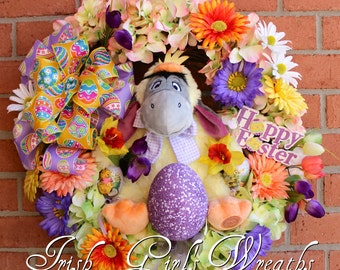 SALE - Eeyore Easter Wreath, Easter Wreath, Winnie the Pooh Easter, Spring Wreath, Easter decor, door hanging, Tulips, Daffodils, hydrangea