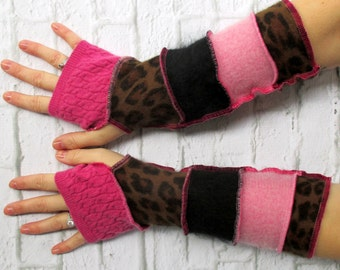 Recycled Sweater Fingerless Glove - Boho Style Attire - Arthritis Relief - Birthday Gift - Carpal Tunnel Comfort - Hobo Gloves - Animal
