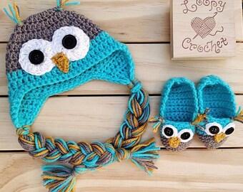 Crochet Newborn Owl Hat and Booties Set