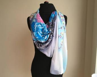 Silk Scarf / Silk Chiffon Scarf / Summer Scarf / Floral Scarf / Summer Sale / Gift Idea