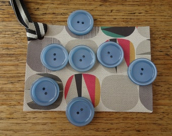 Vintage button set large blue rimmed buttons sewing notion craft supplies mixed media art beads