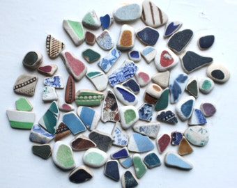 genuine sea pottery beach pottery #seapottery jewelry supply arts and crafts supplies jewellery mosaics yellow green blue vintage (555)