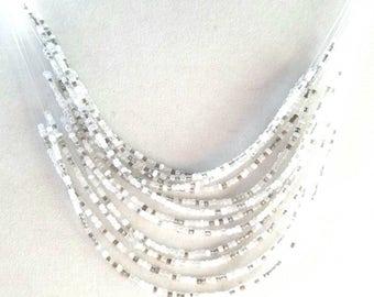 Shades of White Multi-Layer Statement Bib Necklace