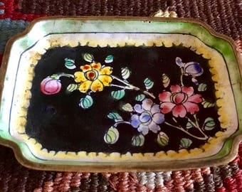 VINTAGE CLOISONNE DISH Asian Chinoiserie Flower Pattern Small Enamel Tray-Plate, Collectible, Serving, Home Decor
