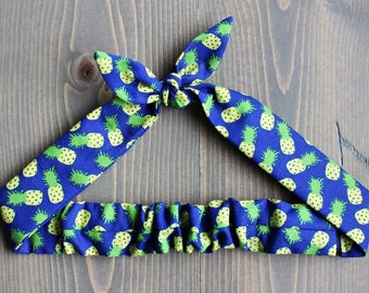 Pineapple Print Knotted Hair Tie, Rosie Wrap, Headband, Bandana, Hair Scarf, Baby, Toddler, Child, Photo Prop, Rockabilly, Royal Blue