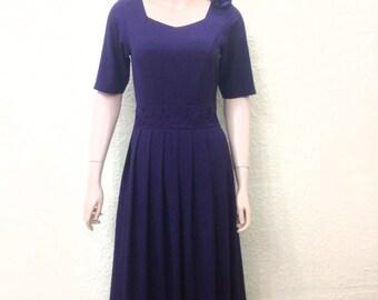 Navy Blue Bridesmaid Dress. Knee Length Dress. Evening Dress.