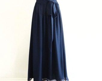 Navy Blue Maxi Skirt. Navy Blue Long Skirt. Floor Length Bridesmaid Skirt. Long Evening Skirt.