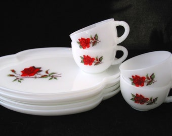 Rosecrest Milk Glass Snack Set with Red Roses Federal Glass 8 Piece Vintage 1970