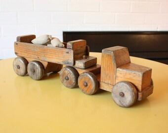 Vintage TorToy wooden truck semi truck