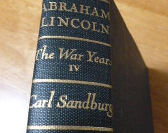 Abraham Lincoln The War Years by Carl Sandburg Volume Four  1939 FREE USA SHIPPING