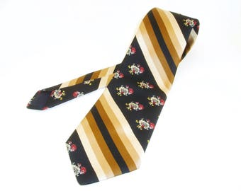 1970s Wide Floral Tie Mens Vintage Disco Era Brown & Blue MOD Geometric Polyester Necktie with Flower and Stripe Designs by Dayton's for Men