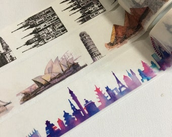 1 Roll Limited Edition Washi Tape (Pick 1): Architectural, Worldwide Landmarks, or Cityscape