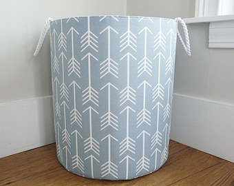 Extra Large Hamper, Fabric Storage Laundry Basket, Cashmere Steel Blue and White Arrow Fabric Organizer, Toy or Nursery Basket, Storage Bin