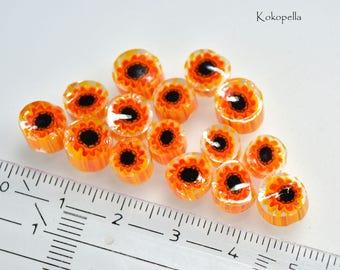Murrinis sunflowers, lampwork, for beadmakers, design by Kokopella