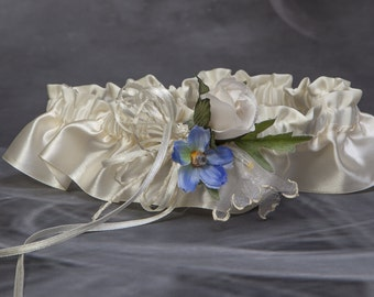 Ivory and blue wedding garter, Ivory and blue bridal garter, Satin garter/Ivory lingerie, Prom garter, Keepsake garter, Something blue