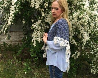 Romantic Soul Crocheted Shawl, Springtime Shawl, Summer Shawl, Lacework Shawl