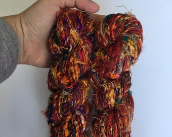 Multicolor Banana Fiber Yarn - Art Yarn - Handmade, Eco-Friendly & Socially Responsible - 2 Skeins