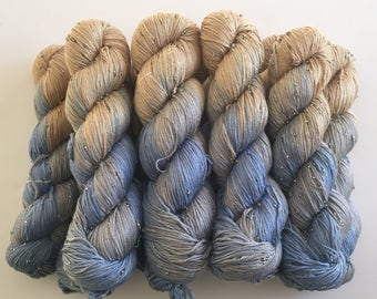 Hand Beaded & Dyed Mulberry Silk Yarn // DRIFTWOOD - Light Bronze, Light Blue, Blue Gray // 2 Skeins