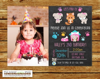 Puppies and Kitties Birthday Invitation | Dogs and Cats Birthday Invitation | Puppy Invite | Cat Invitation | Kitten Invite | Let's Pawty