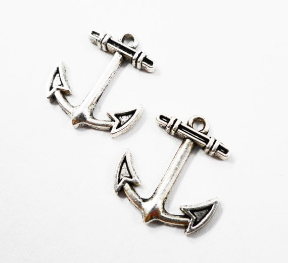 Boat Anchor Charms 15x14mm Antique Silver Anchor Pendants, Ship Anchor Charms, Nautical Charms, Metal Jewelry Charms, Craft Supplies, 10pcs