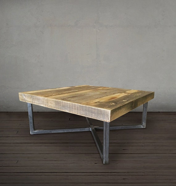 Reclaimed Wood Coffee Table Stainless Steel Legs: Reclaimed Wood Coffee Table Tube Steel Legs By AtlasWoodCo