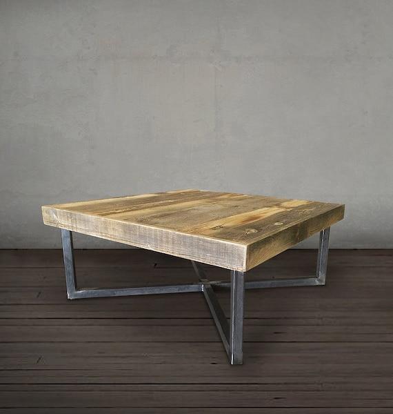Reclaimed Wood Coffee Table Tube Steel Legs By AtlasWoodCo