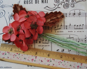 Vintage Cloth Coral Red Millinery Flower Spray Cloche Lady Hat Victorian Doll Bonnet Trim Flapper Boudoir French Bebe Christmas