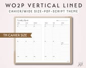 CAHIER SIZE TN Week on 2 Pages Vertical Lined - Printable Traveler's Notebook Insert - Script Theme -  WO2P