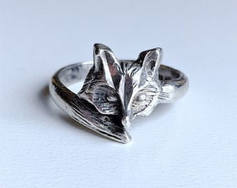 Vintage sterling silver Fox head and tail wrap ring size 6.25-6.5