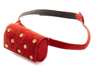 awesome 80s LOEWE red suede gold studded belt bag