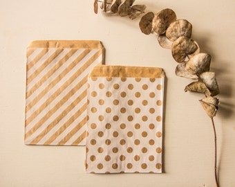Bags/pouches kraft (set of 10) 5 peas and 5 diagonals 13cm x 16cm