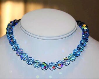 Vintage Aurora Borealis Blue Faceted Crystal Dazzling Choker Necklace NG3